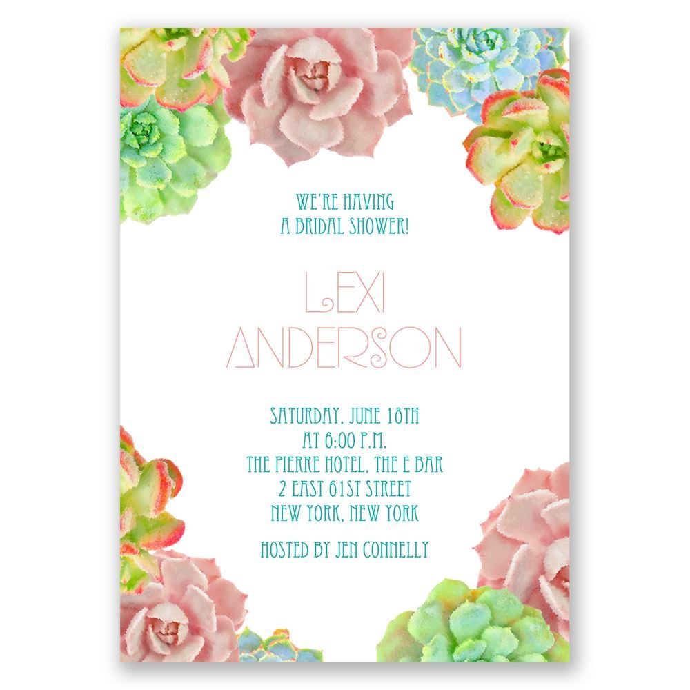 Succulent Bridal Shower Invitations Oz58
