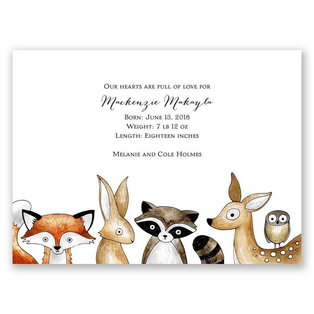 Forest Friends Petite Birth Announcement Invitations By Dawn