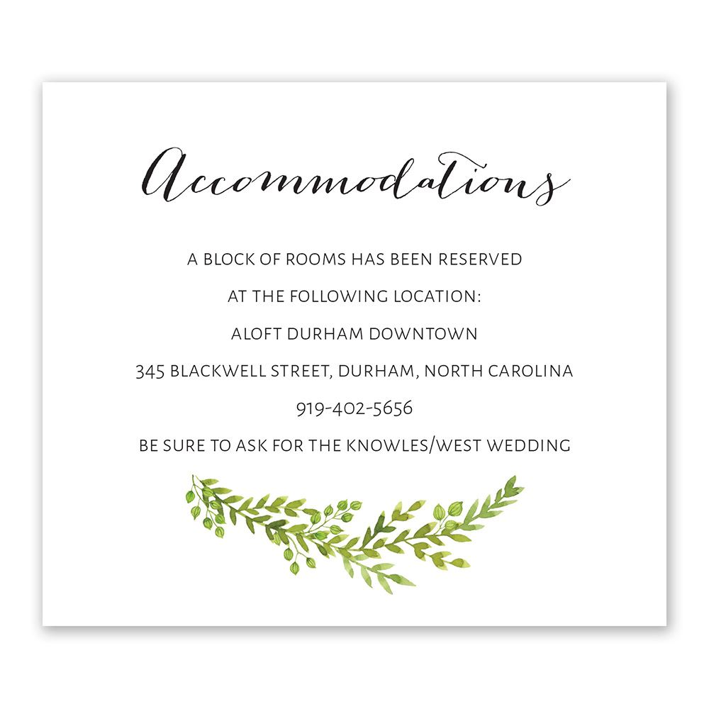 Watercolor Greenery Information Card Invitations By Dawn