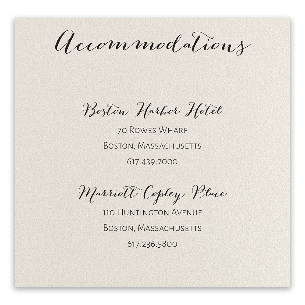 Total Elegance Accommodation Card Invitations By Dawn