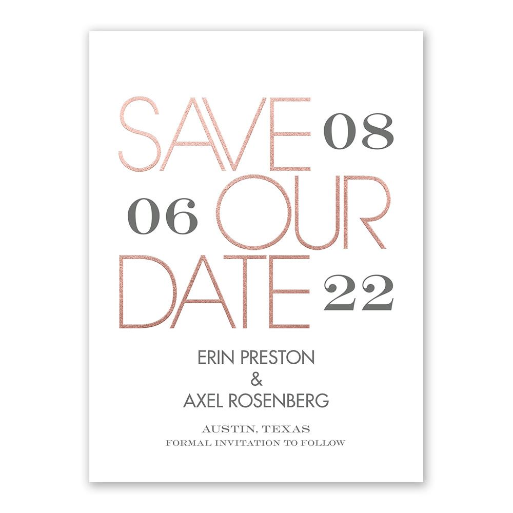 Save Date Cards Rose Gold