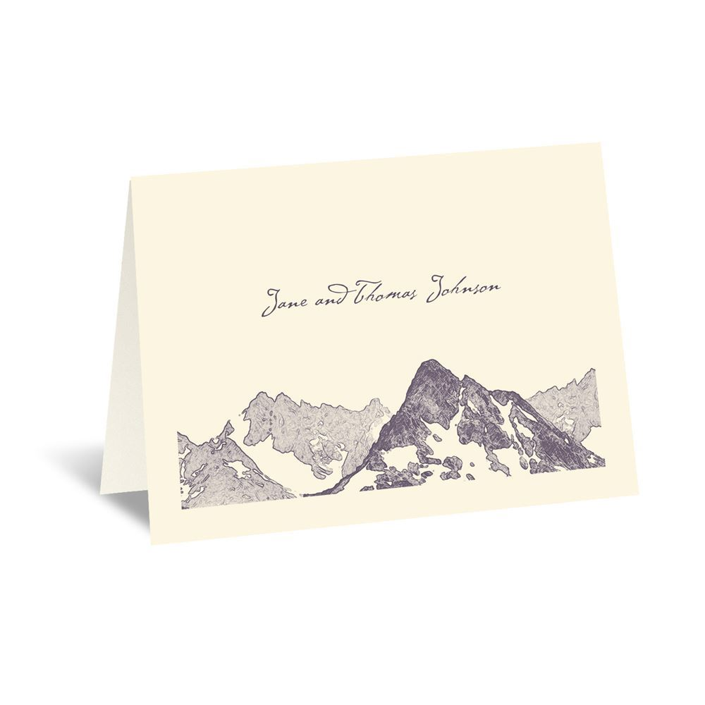 Watercolor Mountain Thank You Card Invitations By Dawn