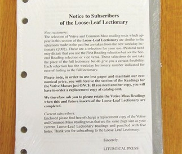 Loose Leaf Lectionary Votive Ritual Masses For Standard Edition