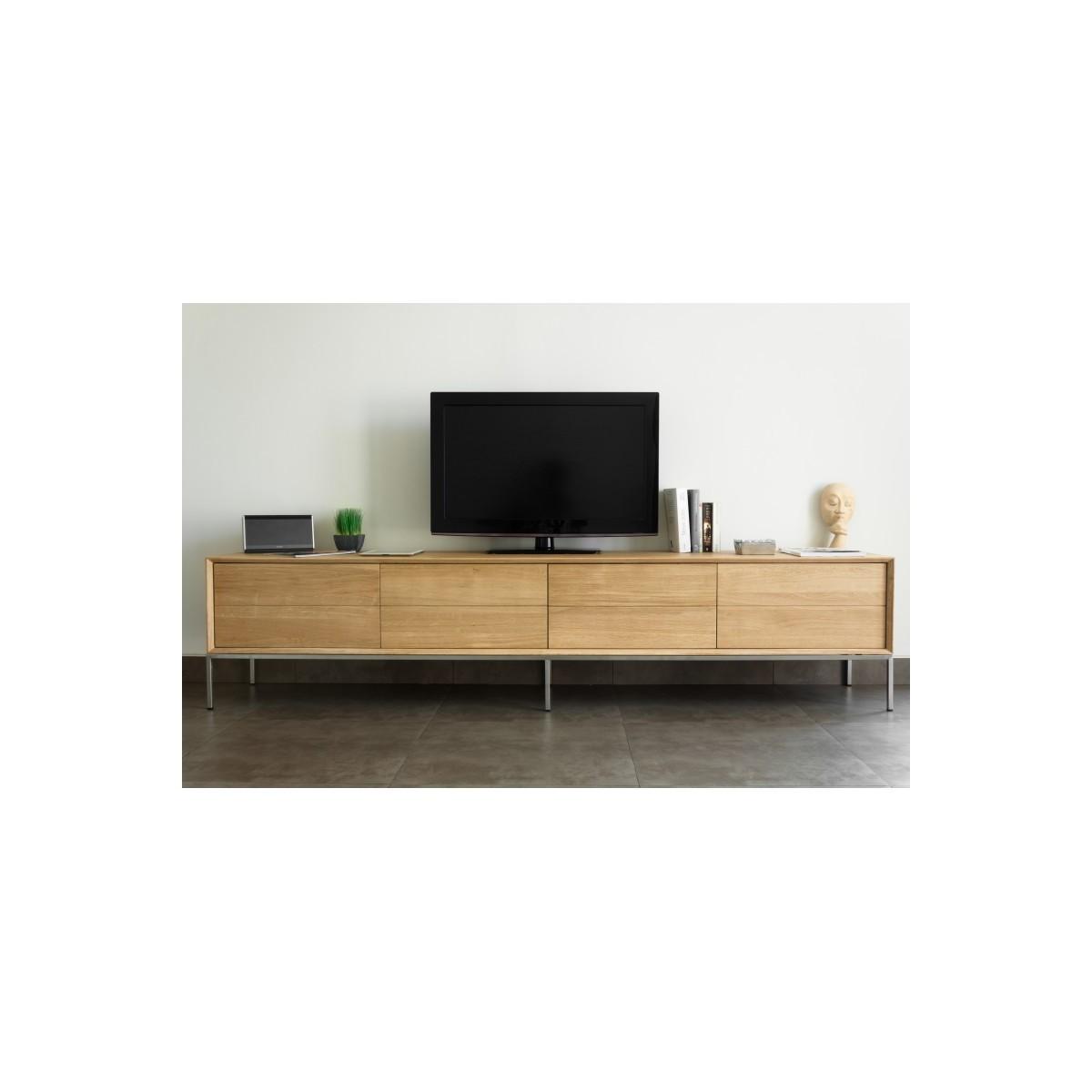 meuble tv bas design 2 tiroirs 2 portes