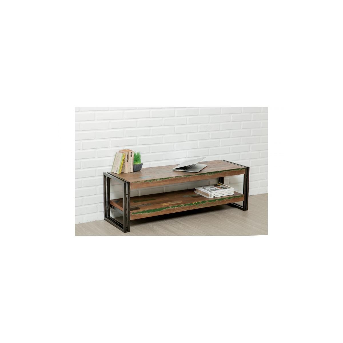 low tv 2 industrial trays 120 cm noah