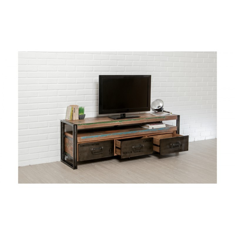 furnished 3 drawers 1 low tv niche 160 cm noah massive teak recycled industrial and metal tv stand