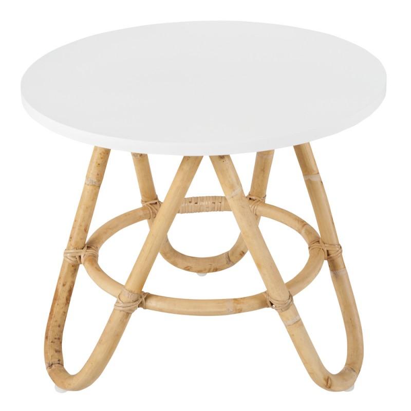 table basse bout de canape diabolo en rotin o 50 cm blanc tables basses