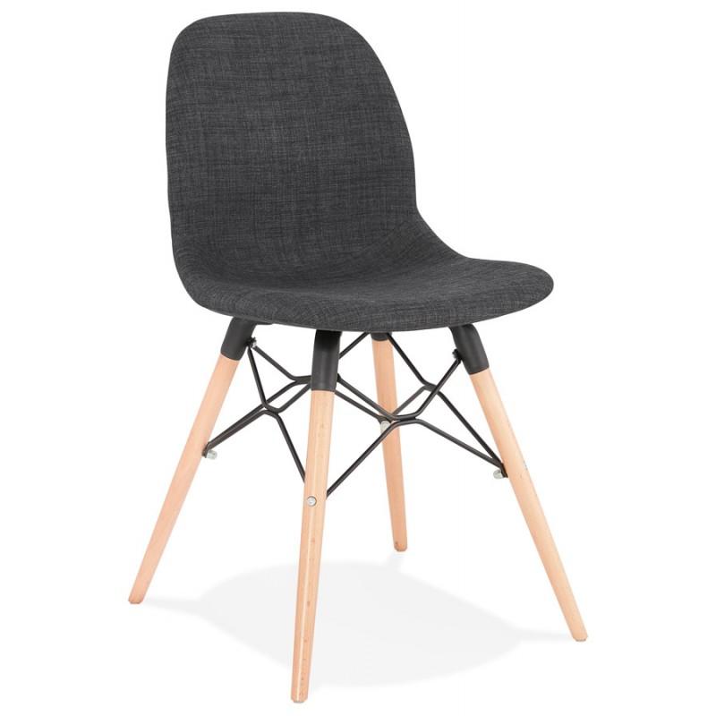 chaise design et scandinave en tissu pieds bois finition naturelle et noir masha gris anthracite chaises