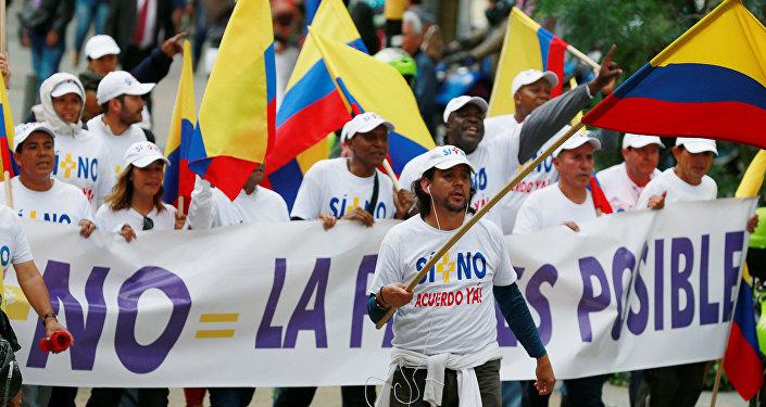 Manifestación a favor de paz con las FARC en Bogotá (archivo)