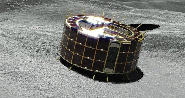 Esta imagen gráfica muestra dos rovers Minerva-II-1 con forma de tambor en un asteroide