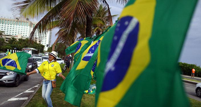 Banderas de Brasil durante elecciones presidenciales