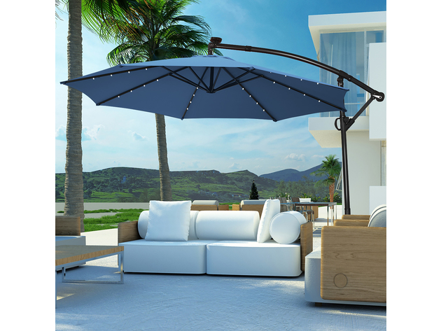 costway 10ft solar powered led patio umbrella blue