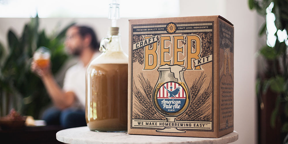 A craft beer home brewing kit