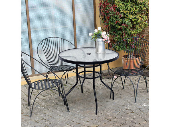 costway 32 patio round table tempered