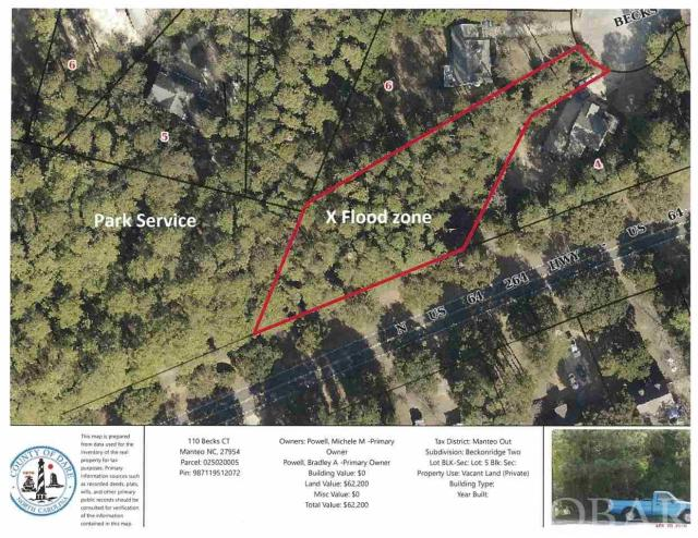 Large building lot over a half acre in beautiful North End Manteo.  Lot backs up to federal park land.  Over 11' elevation shown on survey in a x flood zone.  Enjoy all the north end has to offer including the multipurpose path to the Lost Colony and Down Town.  Short ride to schools and other area attractions.
