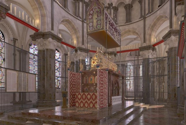 Researchers used a combination of historical documents and archaeological artifacts to create a CGI reconstruction of Thomas Beckets shrine. Photo by John Jenkins