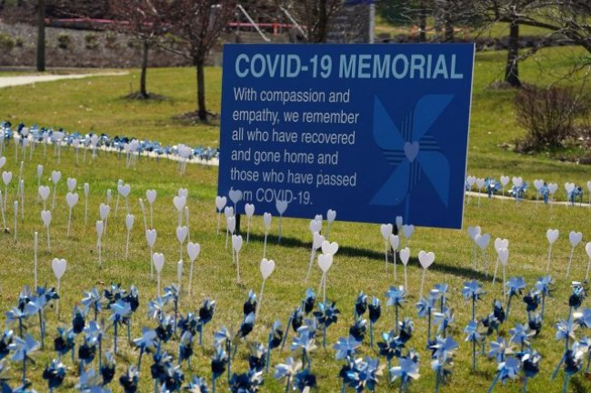 A COVID-19 memorial on display at Missouri Baptist Hospital in Creve Coeur, Mo. The pinwheels honor patients who've contracted the virus. Photo by Bill Greenblatt/UPI