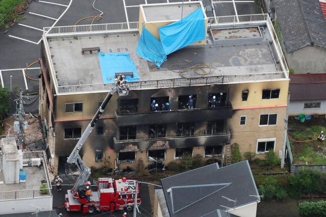 Shinji Aoba, 42, was charged with homicide and arson by Japan's prosecution Wednesday, after the fire at Kyoto Animation studio that killed 36 people in 2019. File Photo by Jiji Japan/EPA-EFE