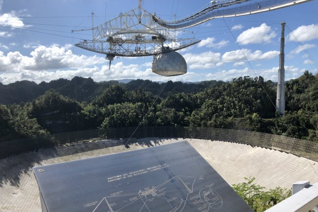The Arecibo Observatory in Puerto Rico incurred damage Friday when a main support cable snapped, compounding damage done by a smaller cable failure in August. File Photo by Paul Brinkmann/UPI
