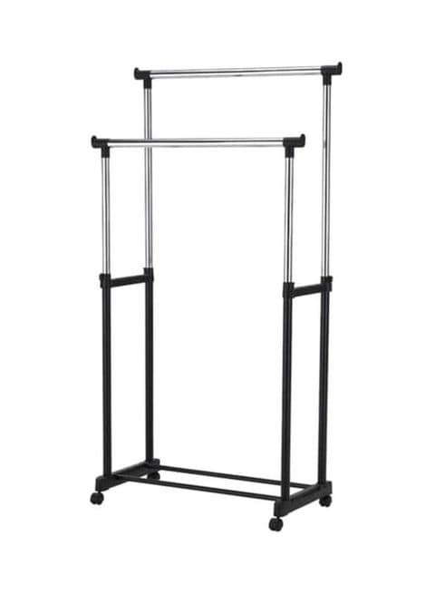 buy generic double pole portable clothes rack hanger with wheels black silver online shop home garden on carrefour uae