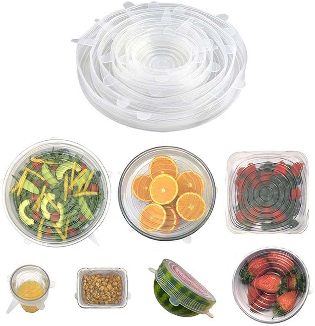 buy silicone stretch lids 7 pack with exclusive xl size bowl container covers dishwasher microwave freezer oven safe reusable recyclable online