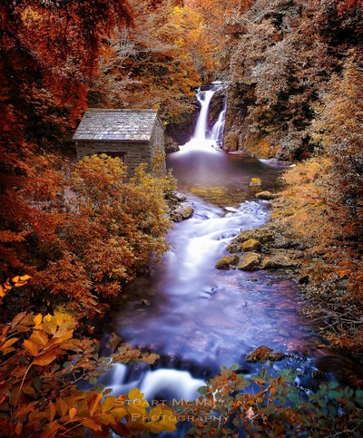 Stunning waterfalls in the Lake District surrounded by the autumn leaves. by theoherbots