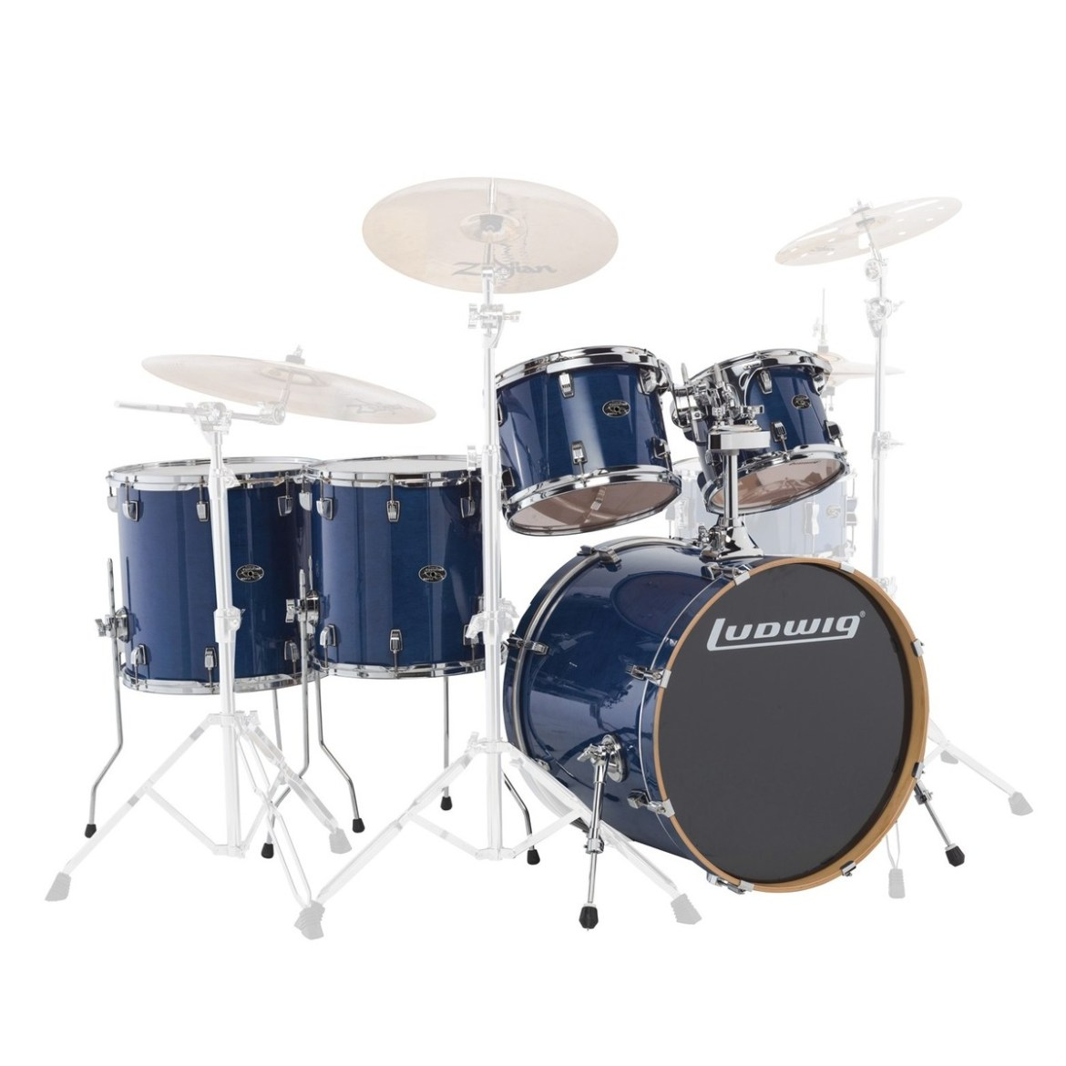 """Ludwig Element Evolution 22"""" 5pc Maple Shell Pack Trans Blue"""