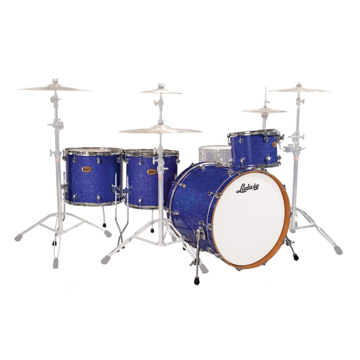 """Ludwig Centennial Dragster 22"""" 4pc Shell Pack Blue Sparkle"""