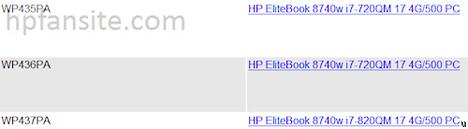 HP Elitebook 8740w datasheet leaked