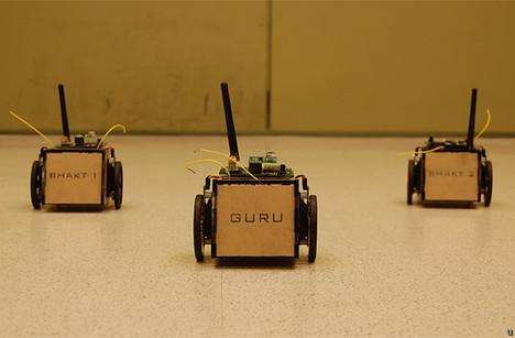 GuruBhakts robots play follow-the-leader