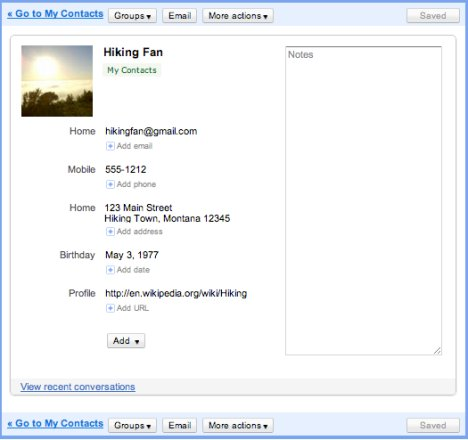 Gmail Contacts Interface Updated