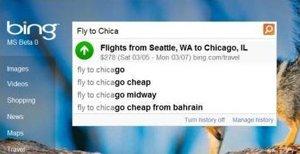 Bing Autosuggest Flight Prices