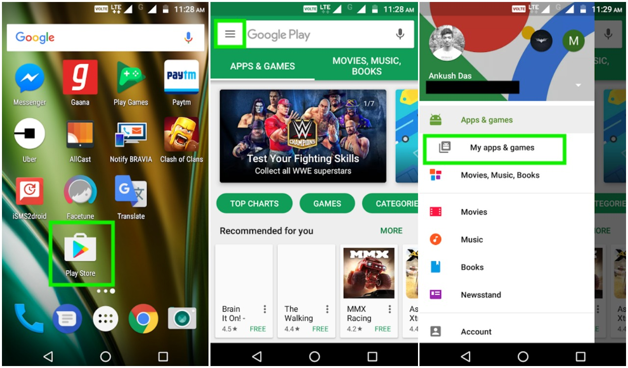 update apps on play store