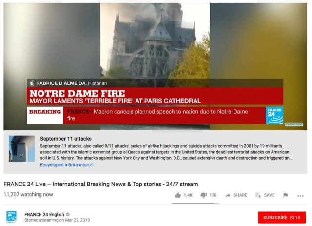 YouTube's Algo Placed A 9/11 Attacks Link Under Notre Dame