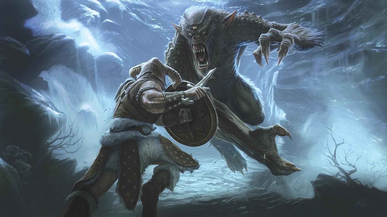 Skyrim Frost Troll Fight