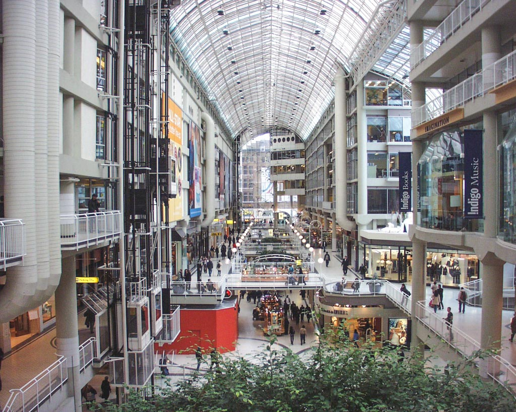 interior do eaton centre, shopping famoso em toronto