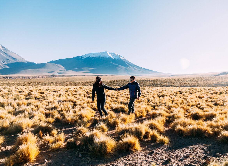 Mirante para o Vulcão Licancabur, no tour até o Salar de Tara