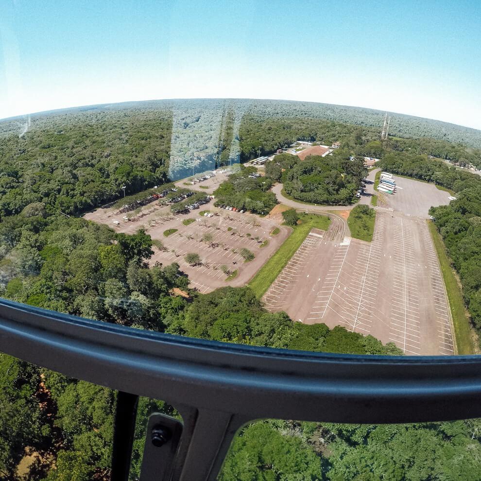Vista da janela do helicóptero