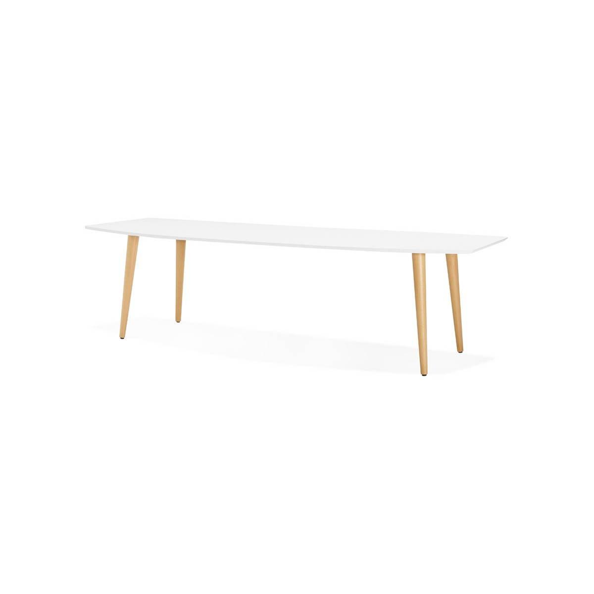 table a manger style scandinave avec rallonges trine en bois 170 270cmx100cmx74 8cm blanc
