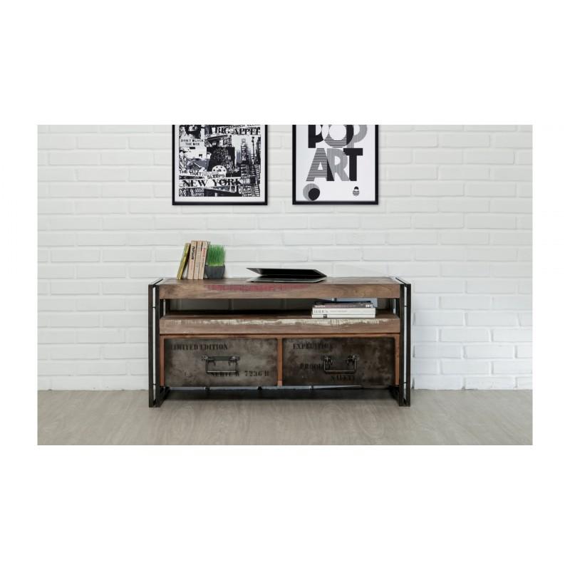 meuble tv bas 2 tiroirs 1 niche industriel 110 cm noah en teck massif recycle et metal meuble tv