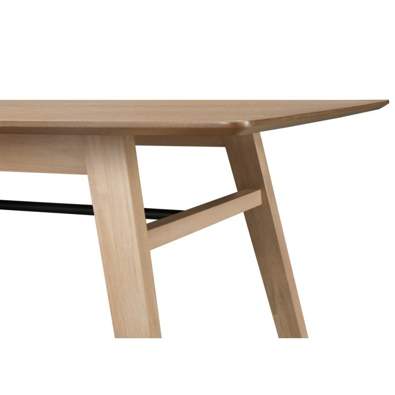 dining table contemporary leana in wood and metal 180x90x75cm light oak dining room table and high table