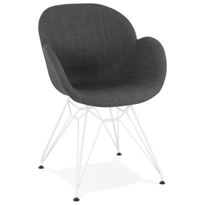 chaise design et moderne tom en tissu pied metal blanc gris fonce chaises