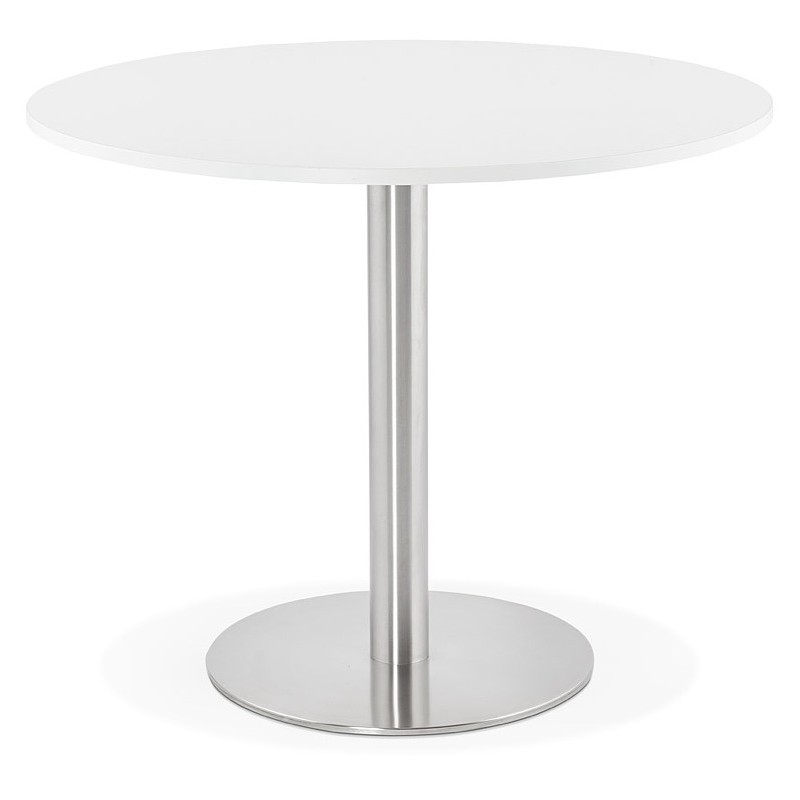 round dining table design or office carla wooden chipboard and metal brushed o 90 cm white brushed steel dining table