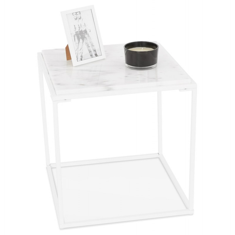 robyn mini marbled stone design side coffee table white low tables
