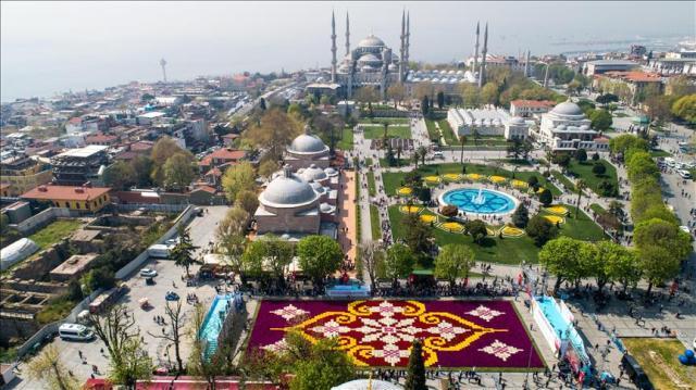 Центр Стамбула украсил огромный ковер из тюльпанов