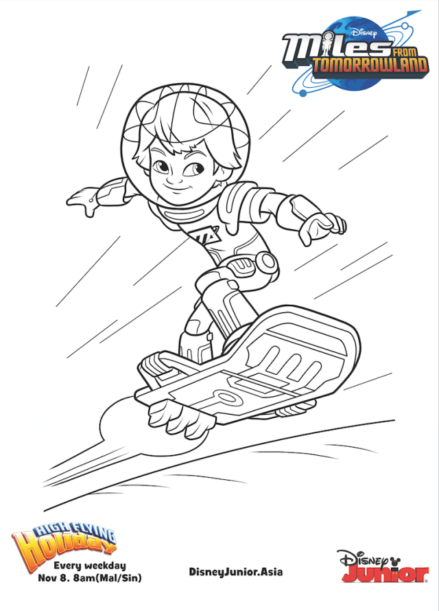 Disney junior coloring pages miles from tomorrowland