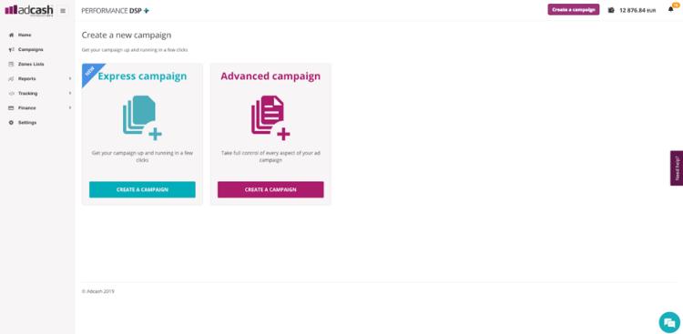 create a campaign on adcash