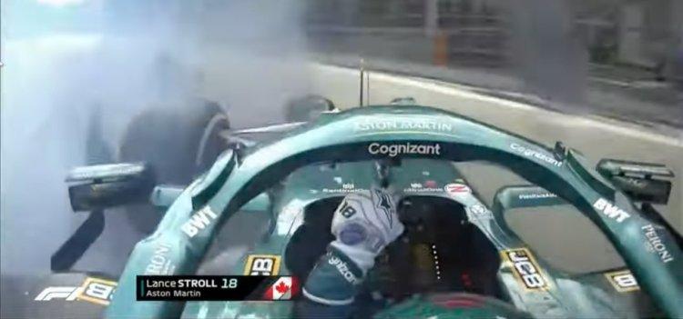 Incidente Stroll video: a muro a 300 km/h/ F1, cede gomma Aston Martin sul  rettilineo