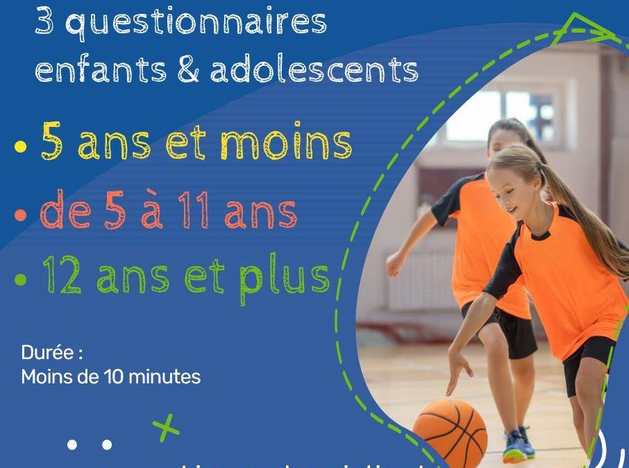 Questionnaire enfants et adolescents lancé par l'ONAPS