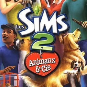 The cover art of the game The Sims 2: Pets.